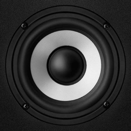 Black speaker with a metal membrane Stock Photo - 22497300