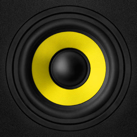 Black speaker with a metal membrane Stock Photo - 22497302