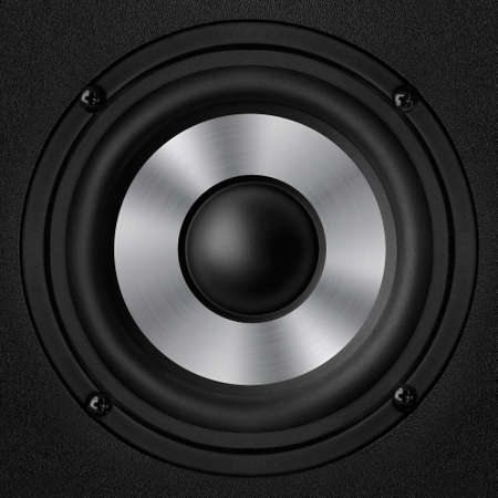 oscillations: Black speaker with a metal membrane Stock Photo