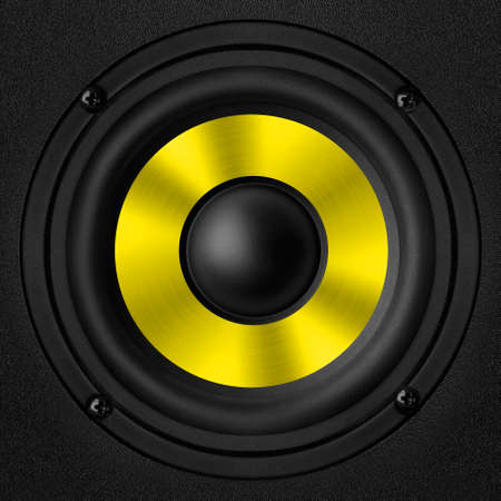 oscillations: Black yellow speaker with a metal membrane
