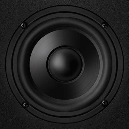 Black speaker with a metal membrane Stock Photo - 22497311