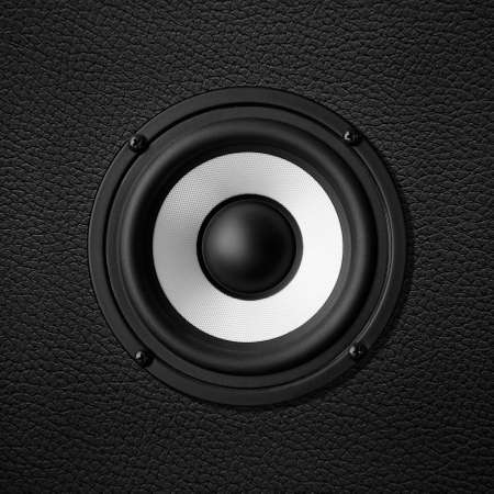 Black white speaker, leather speakers Stock Photo - 22497337