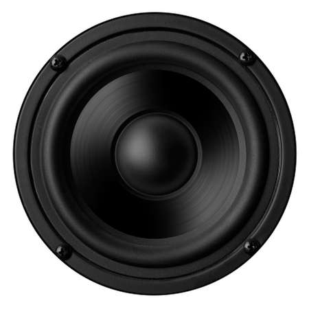 mel: Black speaker with a metal membrane Stock Photo