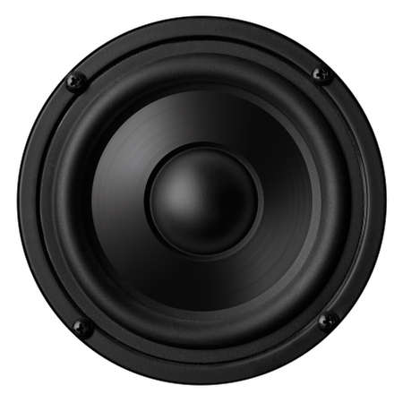Black speaker with a metal membrane Stock Photo - 22497349