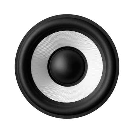 Black white speaker isolated on white background photo