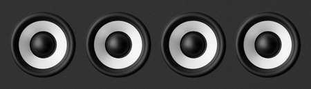 Black   white speaker, on gray background photo