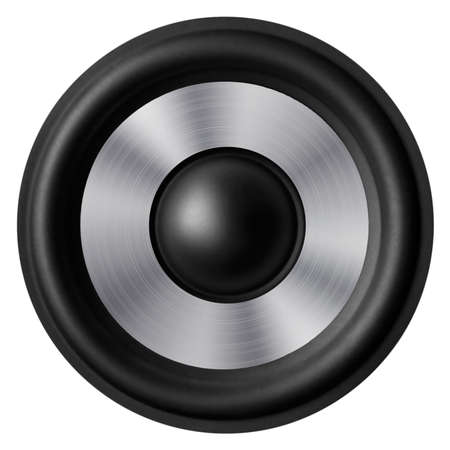 Black   white speaker isolated on white background Stock Photo
