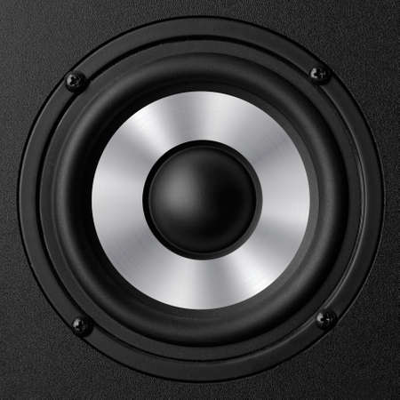 Black speaker with a metal membrane Stock Photo - 22497368