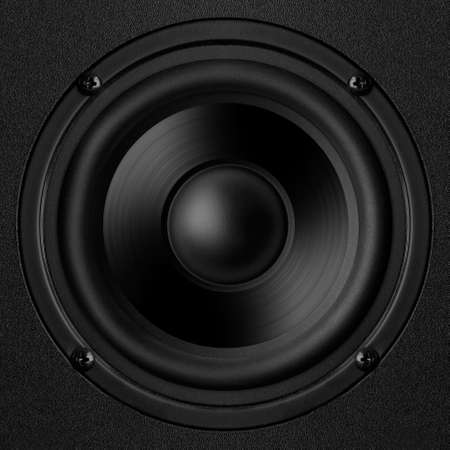 Black speaker with a metal membrane Stock Photo - 22497372