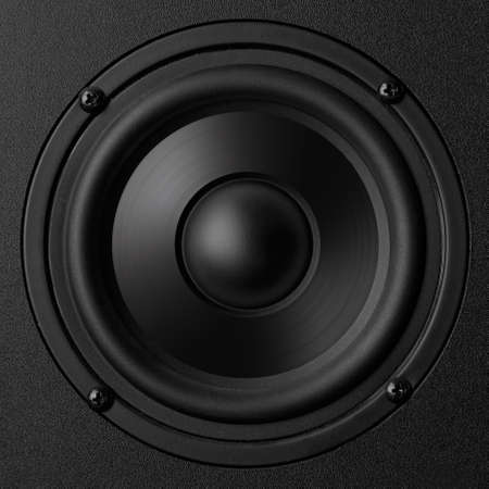 Black speaker with a metal membrane Stock Photo - 22497375