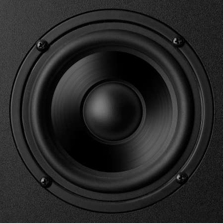 Black speaker with a metal membrane photo