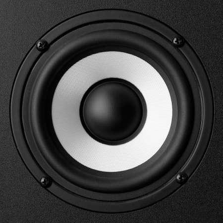 computer speaker: Black   white speaker isolated on white background Stock Photo