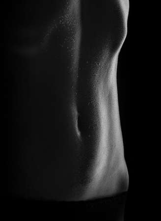 sweaty women body, naked Women, women s tummy Stock Photo