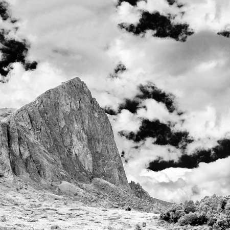 views of the cliffs of Mount Oshten, infrared photography Stock Photo
