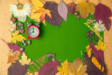 Back to school concept. Autumn frame with an old alarm clock of dry leaves. Copy space.