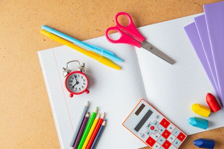 Back to school concept. School supplies on background. Copy space