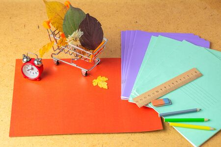 Back to school concept. School supplies on background. Copy space.