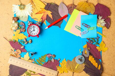 Back to school concept. Autumn frame of dry leaves and school supplies. Copy space