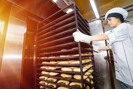 baker girl inserts a cart with baking sheets with raw dough into an industrial oven in a bakery.