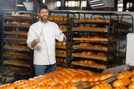 Portrait of a young baker on the background of an industrial oven in a bakery. Industrial bread production Banco de Imagens