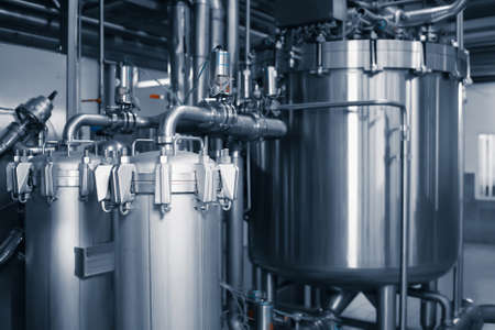 Fine filter for beer. Industrial beer filtration system in a brewery