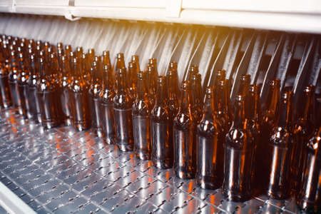 Glass brown beer bottles in industrial bottle washer Banco de Imagens