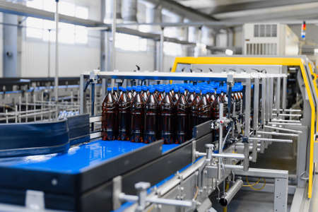 Automatic line for vacuum packaging in a brewery. Plastic brown bottles on conveyor belt