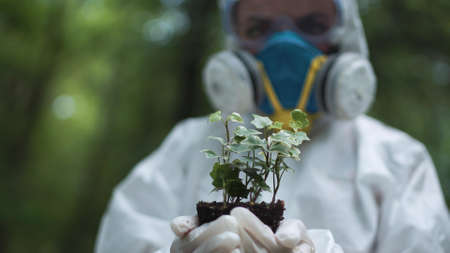 Person in white protective suit and gloves holding sample of earth with plant.