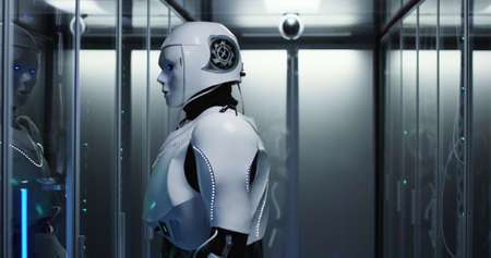 Medium shot of a humanoid robot checking servers in a data center