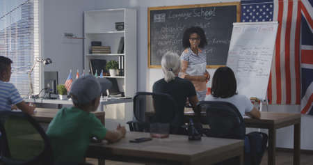 Long shot of teacher giving class while using flip chart