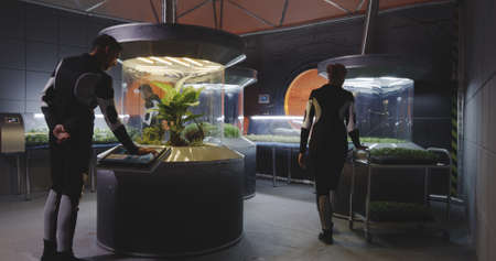 Full shot of astrobiologists working with plant incubators