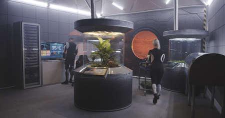Vollständige Aufnahme von Biologen, die im Labor einer Marsbasis mit Pflanzeninkubatoren arbeiten