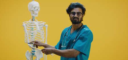 Medium shot of young doctor explaining human anatomy with skeleton
