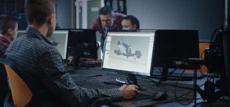 Medium shot of a boy learning 3D design in school
