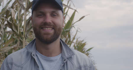 Happy bearded man smiling and looking at camera while standing near dry corn plants in agricultural field