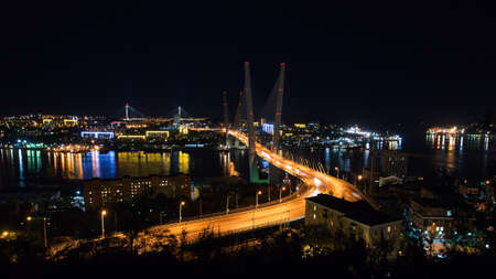 View from Mount  to the Golden Horn, the bridge, the city center and the Amur Bay Standard-Bild