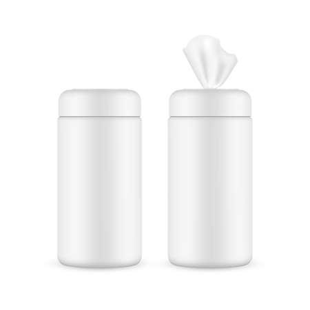 Wet Wipes Jar Mockup Isolated on White Background. Vector Illustration Vecteurs