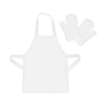 White Blank Apron and Protective Mittens, Isolated. Vector Illustration