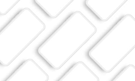 Mobile phone clay mockup with blank screens. Responsive app design concept for showcasing screenshots