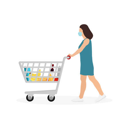 Young Woman Masked Pushing Shopping Cart With Groceries Isolated on White Background. Vector Illustration