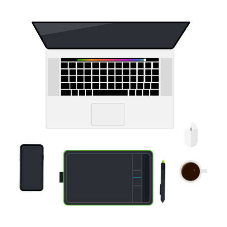 Top view designer workspace with laptop, smartphone, graphic tablet and stylus, coffee mug, computer mouse, isolated on white background. Vector illustration