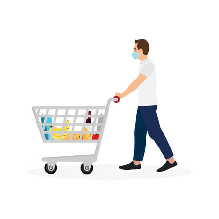 Young Man Masked Pushing Shopping Cart With Groceries Isolated on White Background. Vector Illustration
