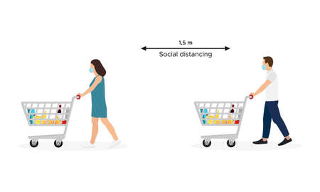 Young Man and Woman Masked Pushing Shopping Carts With Groceries Isolated on White Background. Concept of Social Distancing in Supermarket. Vector Illustration Ilustrace