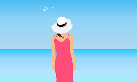 Young woman in coral dress and white hat stands on background of blue sea and sky, back view. Vector illustration