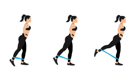 Athletic woman in sportswear doing exercises with resistance bands, isolated on white background. Vector illustration in flat design Vector Illustratie