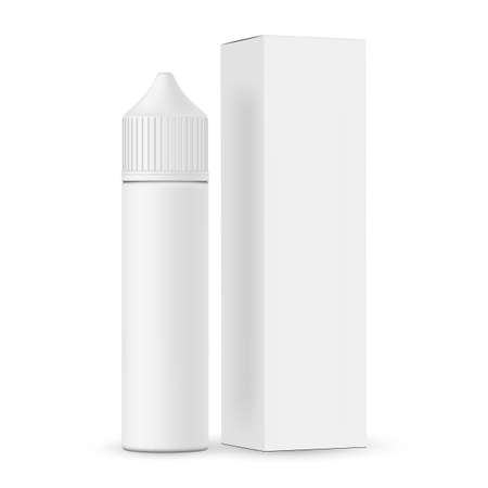Dropper bottle with cardboard box mockup isolated on white background. Vape e-liquid plastic vial template. Vector illustration