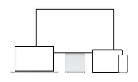 Modern devices mockups: desktop PC, laptop, tablet computer, mobile phone. Vector illustration Ilustrace
