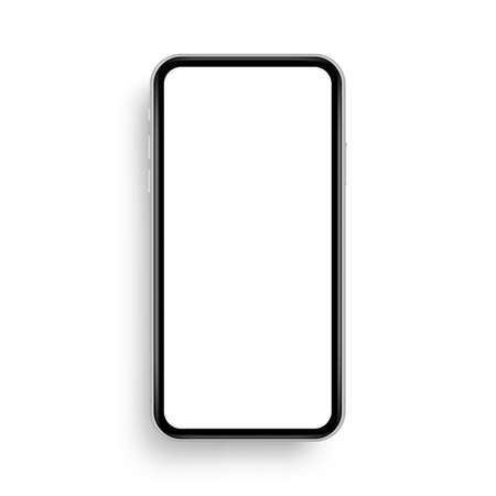 Modern smartphone frame mockup isolated on white background, front view. Vector illustration