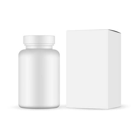 Plastic pills jar with cardboard box mockup isolated on white background. Vector illustration