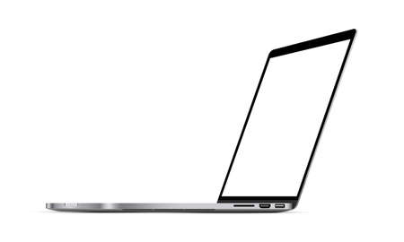 Modern laptop mockup with perspective view, isolated on white background. Vector illustration Ilustrace